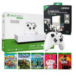 Xbox One S 1TB All-Digital Edition & Online package & Xbox Wireless Controller Copy & OIVO Vertical Cooling Stand Charging Station LED Fan