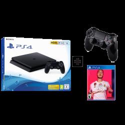 Sony Playstation 4 Slim - 1TB & Controller original Black & Fifa2020 arabic