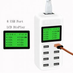 Smart USB hub charger with LCD screen