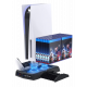 Charging Stand for PS5 with Cooling Fan, Multi-Function Charger Station with 2 Controller Charging Docks