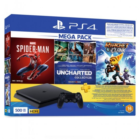 Sony PS4 500GB Console + Ratchet & Clang + Spiderman + Unchartered Collection 3Mths + DS4 Bundle